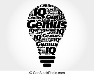 Genius bulb word cloud concept