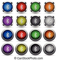 Bluetooth button set - Set of bluetooth glossy web buttons...