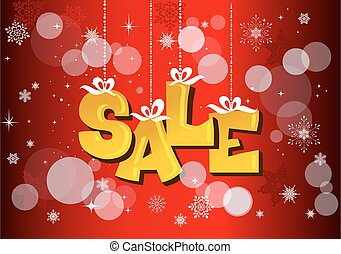 Christmas sale label with ribbons on red background