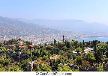 Turkish resort town of Alanya view from the fortress