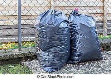 Big Plastic Bin Bags of Rubbish - Plastic bin bags full of...