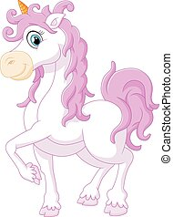 Little cute cartoon fantasy unicorn - vector illustration of...