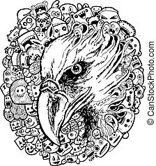 eagle doodle cartoon - hand drawing - vector illustration of...