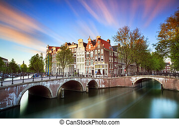Long exposure sunset Amsterdam - Beautiful sunset at the...