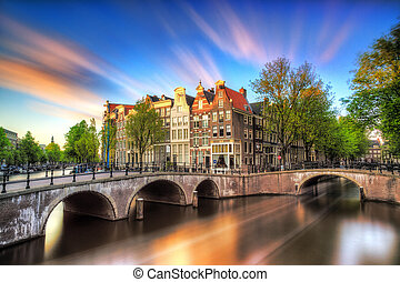 Vibrant sunset Amsterdam - Beautiful sunset at the Emperors...