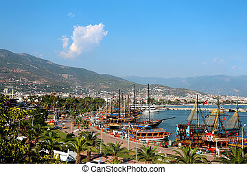 Turkish resort town of Alanya view bay with ships