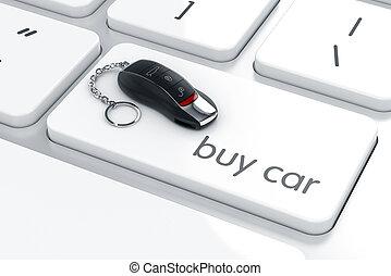 kontroll, begrepp, Avlägsen, bil, köpa, lyxvara, nyckel, tangentbord, dator