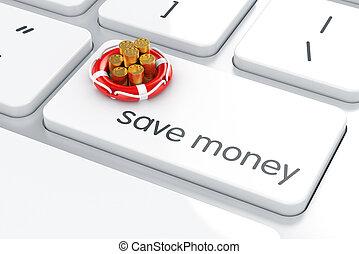 conceito, Dinheiro, moedas,  lifebuoy, computador, teclado, Salvar, Pilha