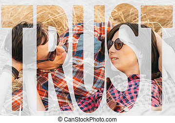 Double exposure trust with image of loving couple - Double...