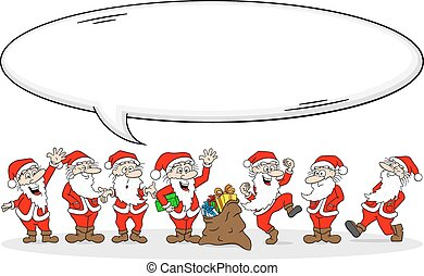group of santa clauses wishes merry christmas