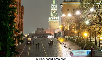 Moscow, Spasskaya tower of Kremlin at winter night timelapse...