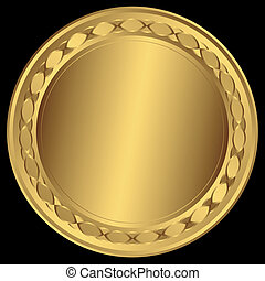 Big golden round frame (vector)