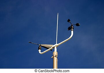 Weather Station instruments with a blue sky in the...
