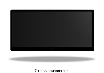 screen - black and white wide screen on white background
