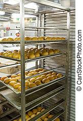 Fresh Bread in Industrial Kitchen
