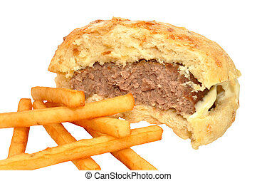 Half Eaten Beef Burger And Fries - Half eaten beef burger in...