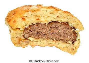 Half Eaten Beef Burger - Half eaten beef burger in a bread...