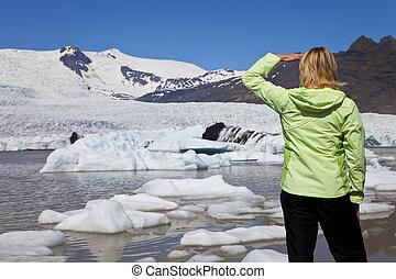 Environmental Concept Woman Hiker Looking At Melting Glacier
