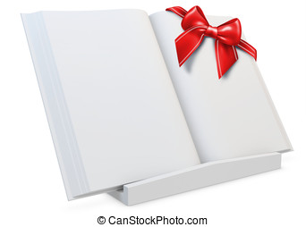 3d  blank open  book with red  bow