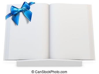3d  blank open  book with blue bow