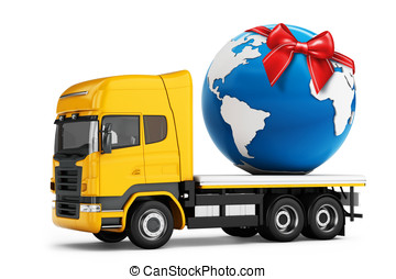 3d truck with earth globe delivery and red bow