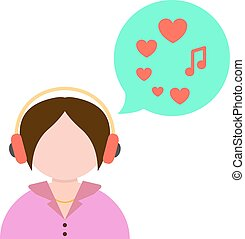 girl listening to music with green speech bubble. concept of...