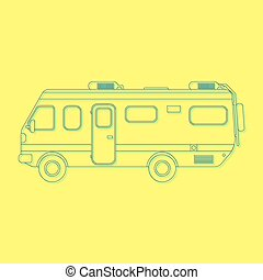 outline travel van isolated on yellow background