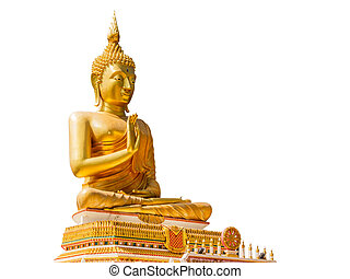 Big Golden Buddha statue in Thailand temple isolate on white...