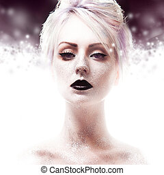 Snow Queen, creative closeup portrait of girl with black...