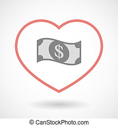 Line hearth icon with a dollar bank note - Illustration of a...