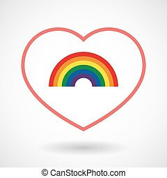 Line hearth icon with a rainbow - Illustration of a line...