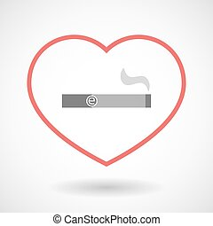 Line hearth icon with an electronic cigarette