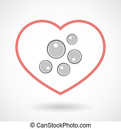 Line hearth icon with oocytes - Illustration of a line...