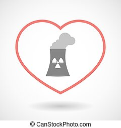 Line hearth icon with a nuclear power station - Illustration...