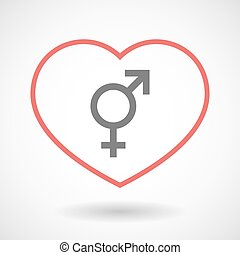 Line hearth icon with a transgender symbol