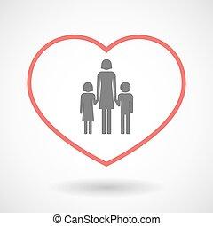 línea, hogar, icono, con, Un, hembra, solo, padre,...