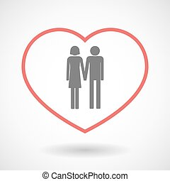 Line hearth icon with a heterosexual couple pictogram -...