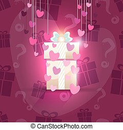 Valentine gift box, seamless pattern included, vector...