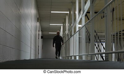 Senior Walking Indoor Track - Senior adult gets his exercise...