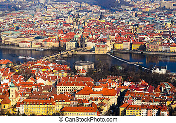 Prague spring view - panoramic view on Charles bridge and...