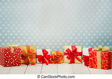 Christmas holiday concept - Christmas gift box border. Xmas...
