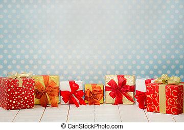 Christmas holiday concept - Christmas gift box border. Xmas...