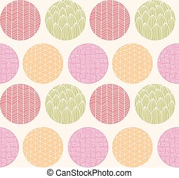 Seamless pattern with ornamental circles and line drawings
