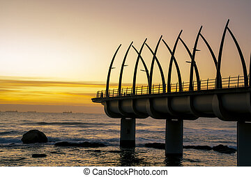 Umhlanga Pier In Durban South Arfica In Sunrise - Sunrise...