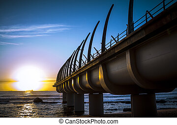 Durban Umhlanga Pier in sunrise - Umhlanga Pier in durban on...
