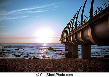 Umhlanga Pier in Durban South Africa in Sunset - The...