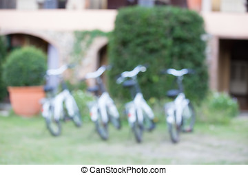 Blurred background of bicycle parking