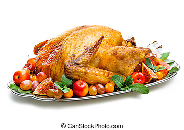 Roasted turkey - Garnished roasted turkey on platter over...