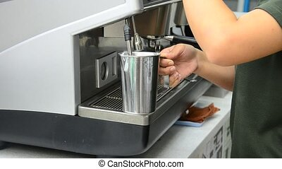 Thai people made coffee by Coffee machine at coffeeshop in...