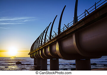 Umhlaga Pier In Durban South Africa in the Sunset - Umhlanga...
